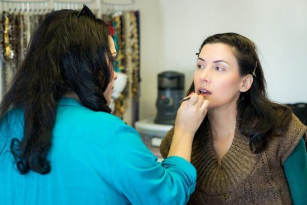 Prepping with make-up and hair artist Ana Vergara