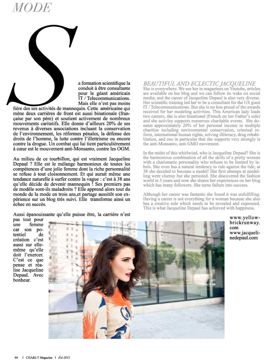Chari-T Magazine Summer 2015 featuring Jacqueline Depaul