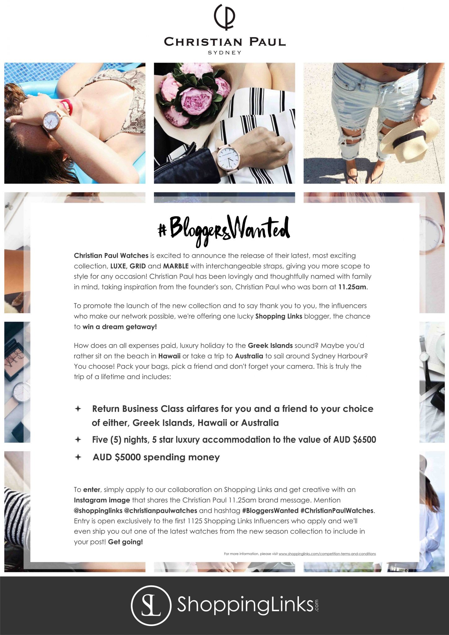 Christian Paul x Shopping Links Blogger Competition